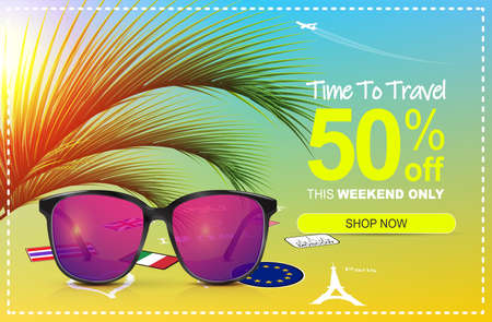 Summer sale 50 off. Discount banner. Sunglasses with colored lenses. Sunshine palm leaves.