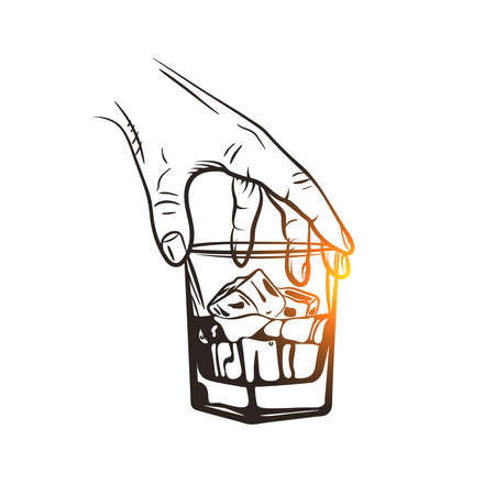 Hand holding a glass of whiskey with ice cubes. Whiskey glass. Hand drawn drink.