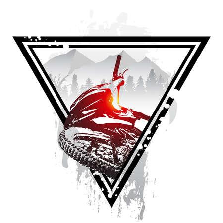 Emblem with mountain bike and helmet. Downhill mountain biking concept art. Mtb, freeride, bicycle, enduro, extreme sport.