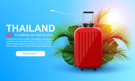 Vacation vector banner. Summer holiday web banner. Red suitcase with traveler accessories and coconut leaves.