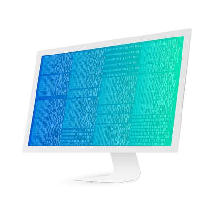 White computer screen with binary code. Binary code digital technology. Data Sorting.