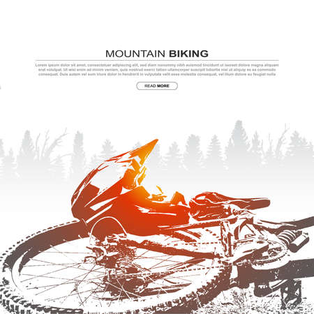 Abstract silhouette of mountain bike and helmet. Mountain biking cover design. Ilustração