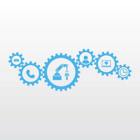 Gears with icons. Marketing mechanism concept. Illustration