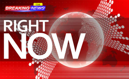 Breaking news template on red background. Holographic globe on world map.