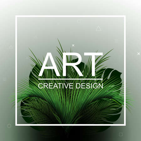 Abstract tropical bushes. Tropical vector design with green palm leaves.