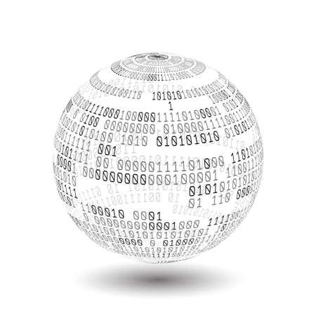 Globe with binary code. Ball of binary code. Digital technology. Data Sorting. Artificial intelligence.Big data.Smart system.
