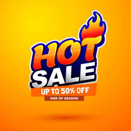 Hot sale special offer banner. Bright creative design. Happy and funny style. Can be use for kids product discount. Illustration