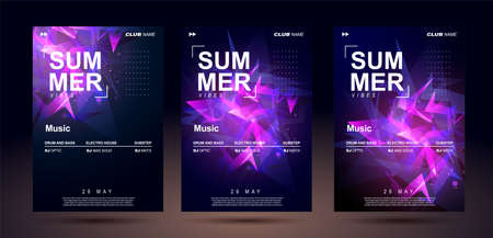 Club banner design. Music poster templates for bass electronic music. Night sound event. Shining geometric shapes chaotically arranged. Sound explosion. Illustration
