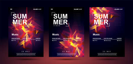 Music poster templates for bass electronic music. Club banner design. Night sound event. Shining geometric shapes chaotically arranged. Sound explosion. Ilustração