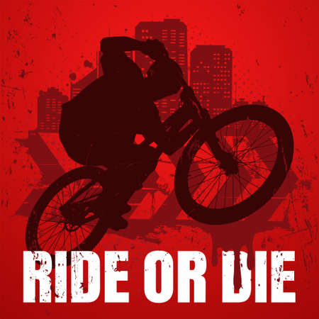 Extreme sport t-shirt design with popular ride or die slogan. Urban style. Biker silhouette on mtb bike in the air.