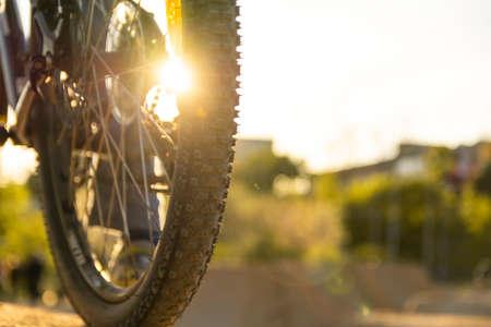 Back shot of mountain bike rear wheel. Bicycle wheels close up image on sunset.