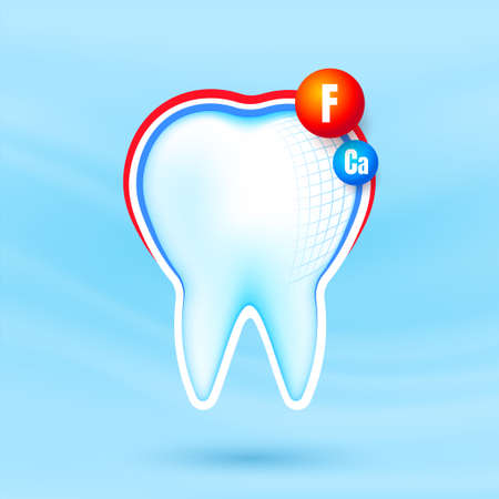 Healthy strong tooth with calcium and fluor sheild. White teeth being protected. Dental care. Ilustração