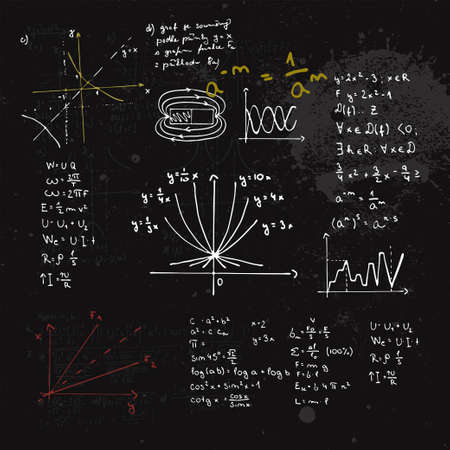 Handwritten mathematical formulas and graphs. Blackboard with calculations.