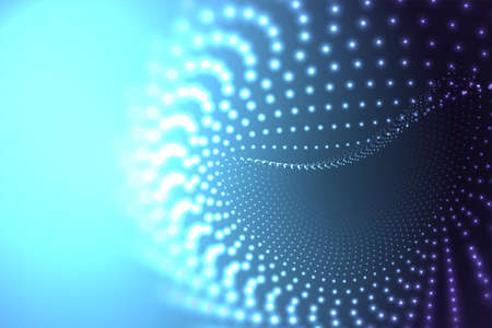 Abstract dots cover. Dynamic abstract liquid flow particles with depth of field effect. Futuristic dynamic wave moving in space.