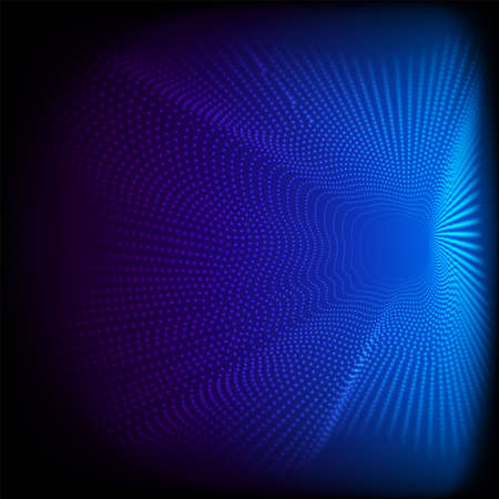Abstract dynamic dots wave 3D pattern particles on blue background and texture Big data Digital rendering Vector illustration Illustration