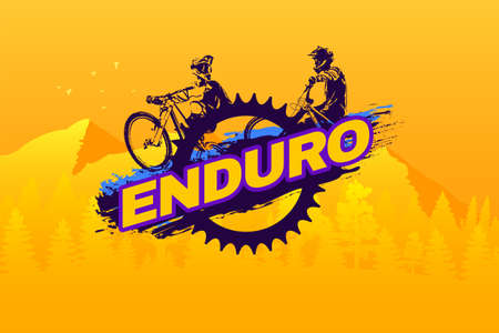 Enduro mountain biking logo template. Ilustração