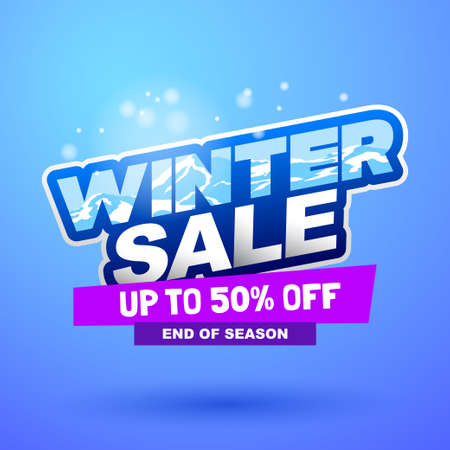 Winter sale special offer banner. Bright creative design. Happy and funny style. Can be use for kids product discount.