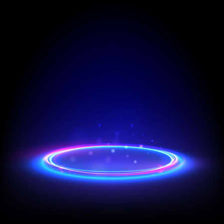 Glow neon circle. Blue glowing ring on floor. Abstract hi-tech background for display product. Vector template. Ilustração