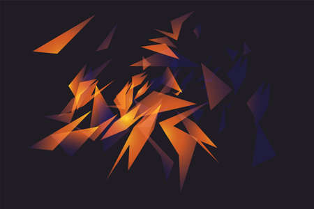 Abstract shapes explosion. Shards of broken glass. Glowing dynamic background for sport, music or computer gaming. Illustration