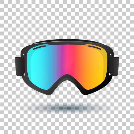 Motocross or mountain bike goggles with polarized lens islolated on transparent background. Vector Illustration. Ilustração