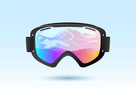 Ski or snowboard goggles with reflection of mountains. Vector Illustration.