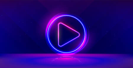 Wide gaming background with glowing play button. Press to play. Start button. Illustration