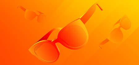 Colorful sunglasses. Abstract background with 3d glasses. Product banner. Art and fashion. Vector Illustration.