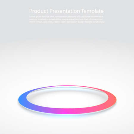 Round pedestal podium on white background. Futuristic product stand template. Glowing ring on floor. Abstract hi-tech background for display product. Circle teleport podium. Vector Illustration.