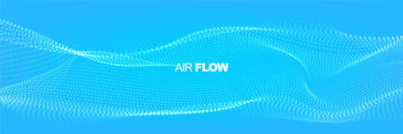 Flowing particles with depth of field. Air flow. Particle waves showing a stream of clean fresh air. Vector illustration. Illustration