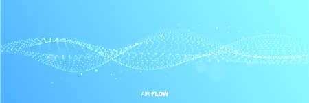 Abstract wave on blue background. Air flow. Particle waves showing a stream of clean fresh air. Vector illustration. Illustration