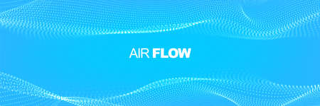 Particle waves showing a stream of clean fresh air. Flowing particles with depth of field. Air flow. Vector illustration.