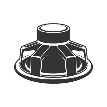 Audio speaker icon. Subwoofer speaker for car.