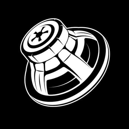 Subwoofer for home and car audio systems. Loud speaker vector illustration. Illustration