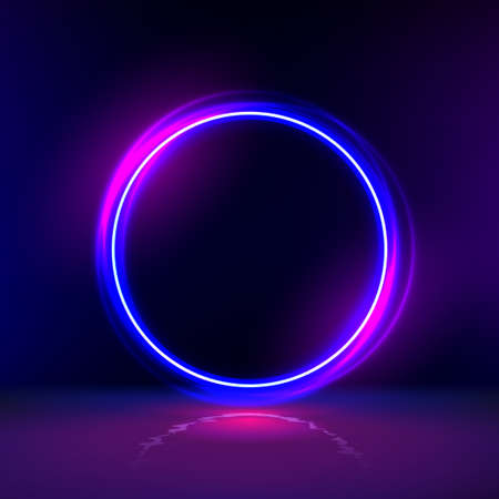 neon gloving ring in dark room. Round light frame for text. Dark abstract furistic background with circle gate. Portal to another universe.