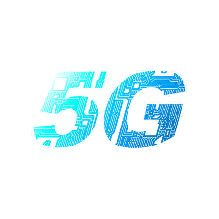 5G mobile networking from circuit board on white background. Stock Photo