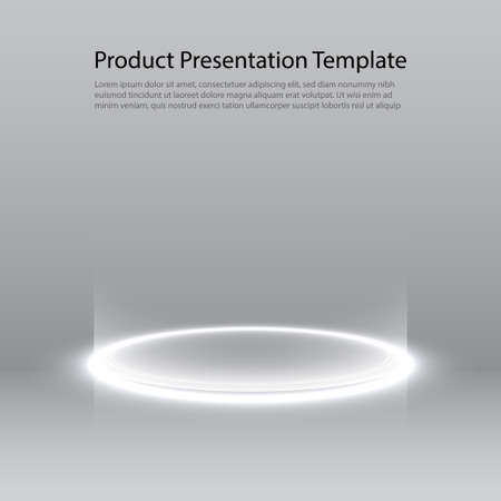 Neon pedestal. White glowing ring on glossy floor. Abstract hi-tech background for display product. template.