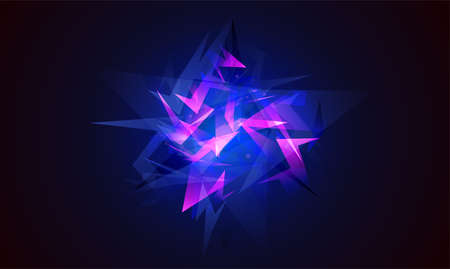 abstract shapes explosion. Shards of broken glass. Glowing dynamic background for sport, music or computer gaming. Stock Photo