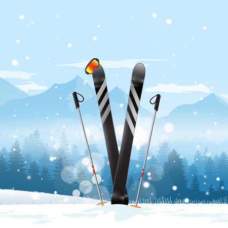 Pair of cross skis in snow. Ski winter mountain landscape background. illustration.