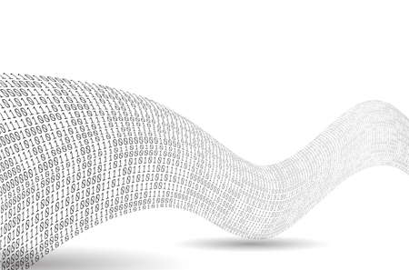 Binary code wave. Sound as a binary wave. Abstract binary background.