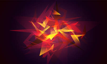 Shards of broken glass. Red abstract shapes explosion. Glowing dynamic background for sport, music or computer gaming. Stock Photo