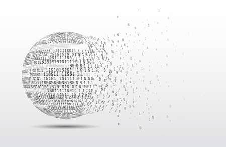 Binary code globe. Technology planet. Big data. Global network. Artificial intelligence. From chaos to system. Stock Photo