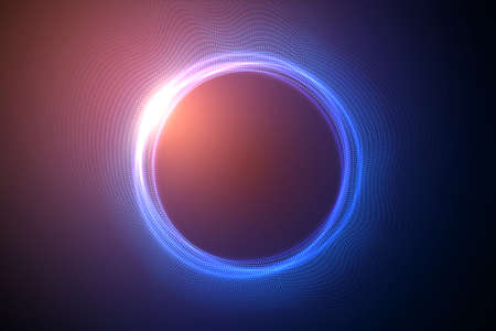 Glowing circles from dots with depth of field effect. Black hole, sphere, circle. Music, science, technology particles background.