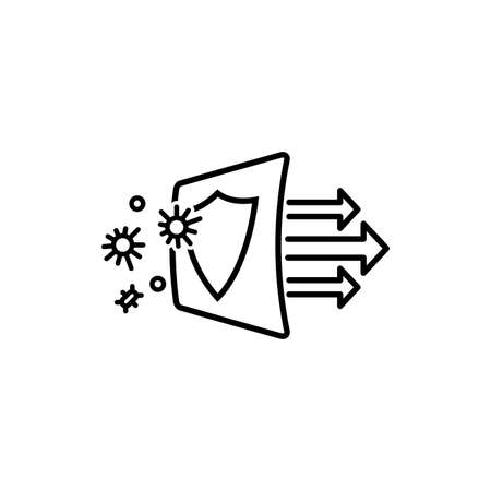 Simple line icon showing virus protection. Air filter effect. Antibacterial, dust, solid particle filtration and ventilation technology. Illustration