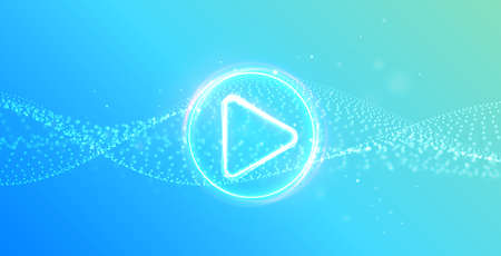 Dynamic particle wavy background with glowing play button. Press to play. Start button. Gaming, music, cinema.