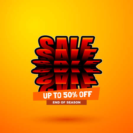 Sale special offer with flip effect. Discount banner. Bright creative design. Illustration