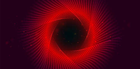 Red swirling background from small glowing particles. Infinite round twisted tunnel of shining flares. Sci Fi background.