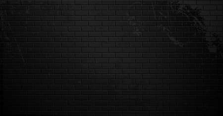 Old black brick wall with cracks and smudges. Empty dark street place. Place for text or product presentation. Illustration