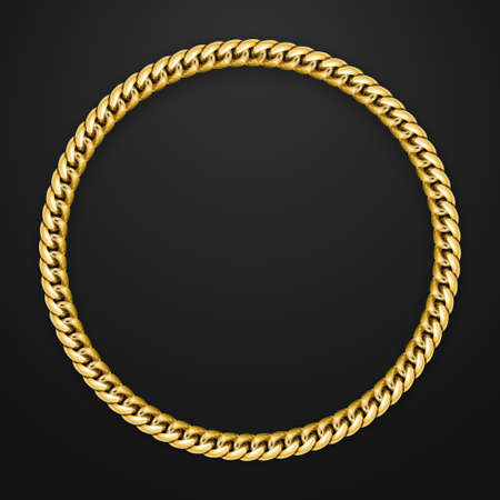 Vector realistic gold chain on black background. Space for text. Round gold jewelry frame.