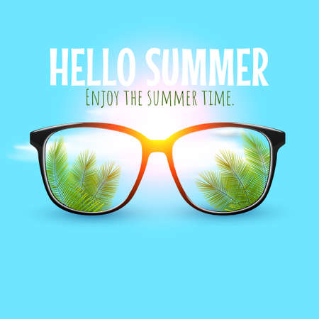 Summer sunglasses with palm tree leaves in lenses on pastel background. Summer, holiday, vacation concept. Glasses discount banner, poster or social media post.