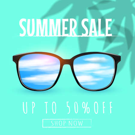 Eyeglasses sale banner concept. Sunglasses with sky reflection with clouds and sun Decorated with plant shadows. Glasses discount banner, poster or social media post.